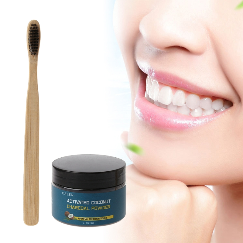 30g Activated Charcoal Teeth Whitening Powder Organic Coconut & Soft Toothbrush image