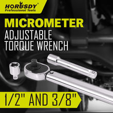 HORUSDY Adjustable Drive Torque Wrench Hand Spanner Ratchet Repair Tool Multifunction Wrenchs 1/2 and 3/8 Key Set