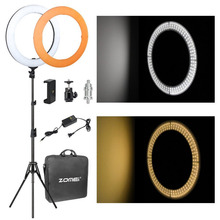 Zomei kit de iluminação de led, 18 polegadas, regulável, smd, câmera de estúdio, conjunto de iluminação para vídeo, 5500k para maquiagem, smartphones youtube transmissão ao vivo