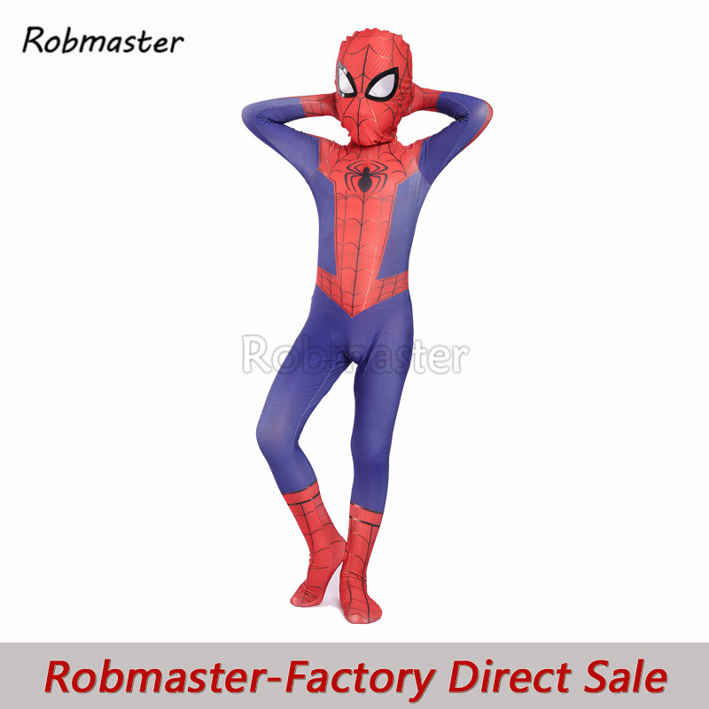 Newest Children Peter Parker Cosplay Costumes 3D Printed Lycra Spandex Spiderman Superhero Zentai Bodysuit Jumpsuit Cloak Suit