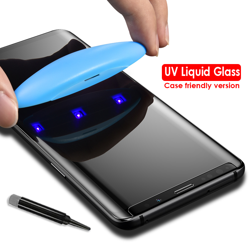 Akcoo S8 Plus screen protector full UV Glue glass for Samsung Galaxy 9 case friendly film Note 8  tempered Glass