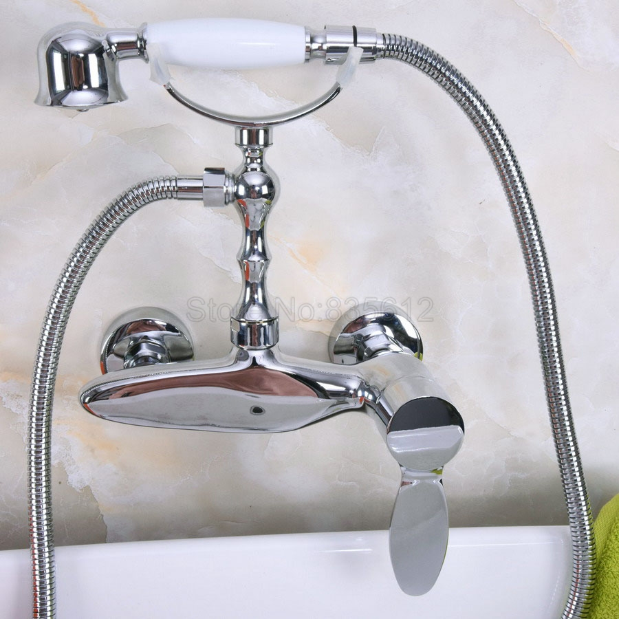 Wall Mounted Polished Chrome Bathtub Faucets Bathroom Basin Mixer Tap With Hand Shower Head Bath & Shower Faucet tna181 wall mounted bathtub faucet double handle polished chrome mixer tap bath shower faucets with hand shower nna188
