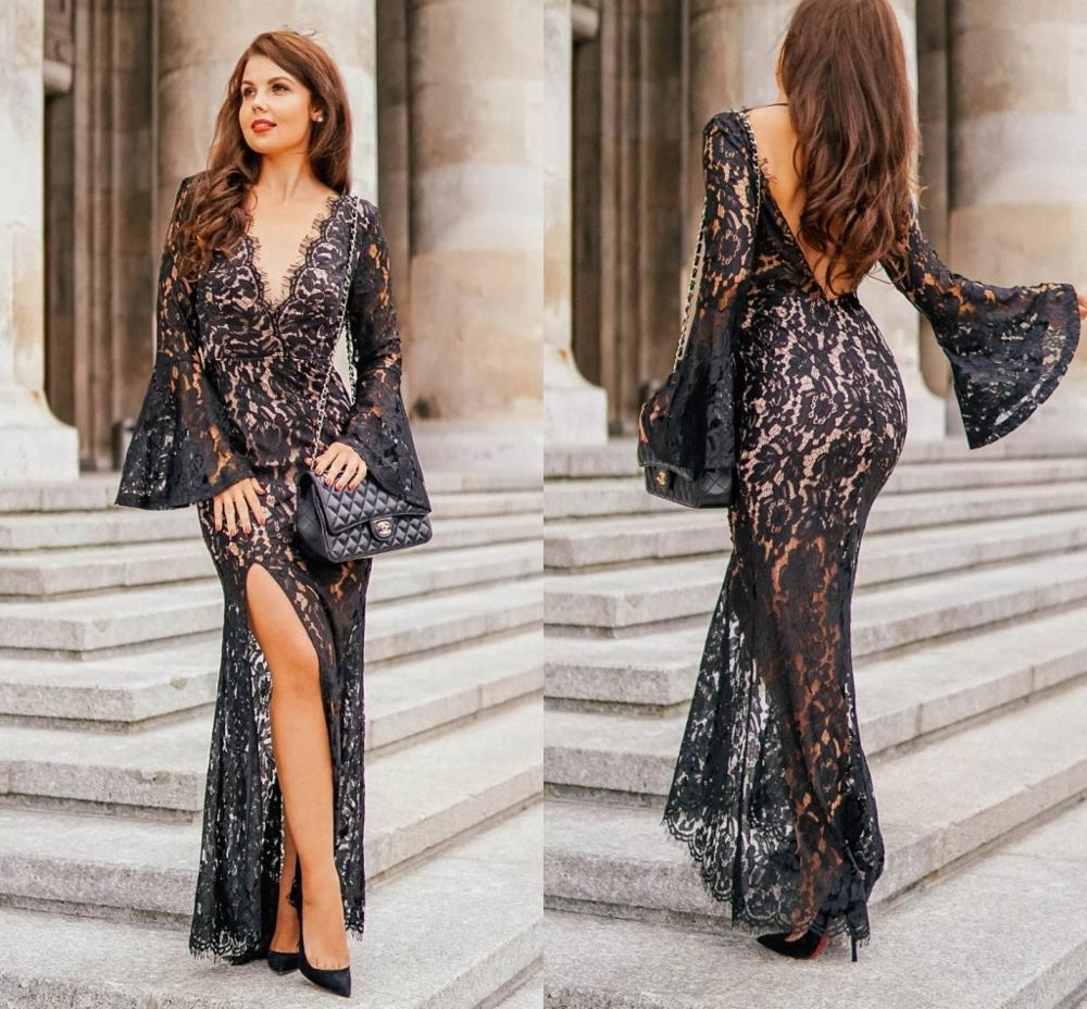 New Elegant Black V-neck Split Lace   Evening     Dresses   Long Sleeves Backless Mermaid Prom Party   Dress   Prom   Evening   Gowns Vestidos