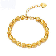Solid 24 k simple ms female personality luxury fashion bracelets placer gold bracelet jewelry