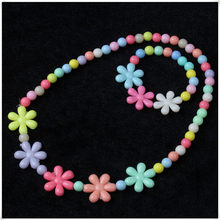Cute Jewelry kid choker necklace flower candy bead costume jewellry gift idea party(China)