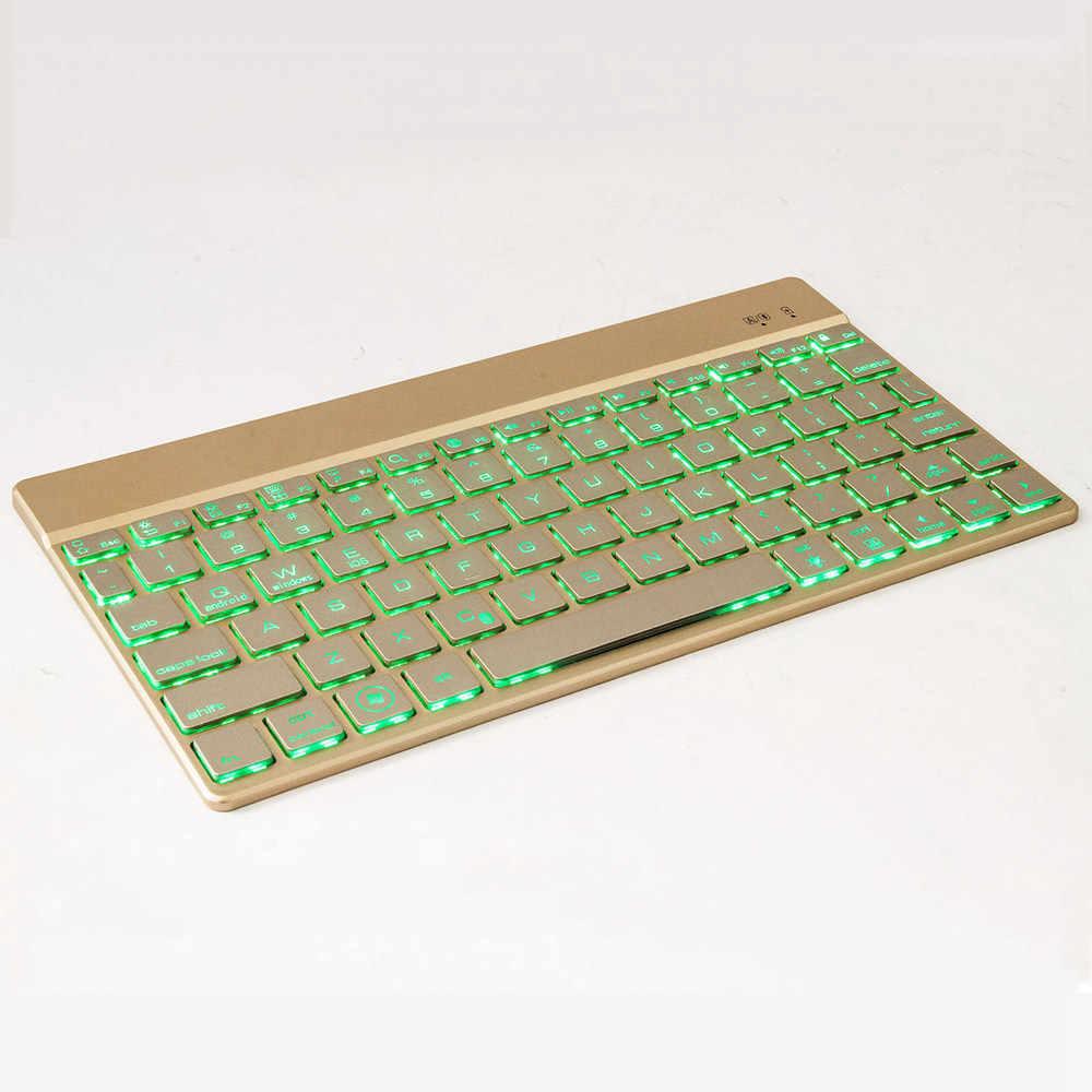 Ultra Tipis 7 Warna LED Backlight Aluminium Rusia/Spanyol Bluetooth Keyboard Untuk Lenovo TAB 4 10 TB-X304F/N 10 Ditambah TB-X704F/N
