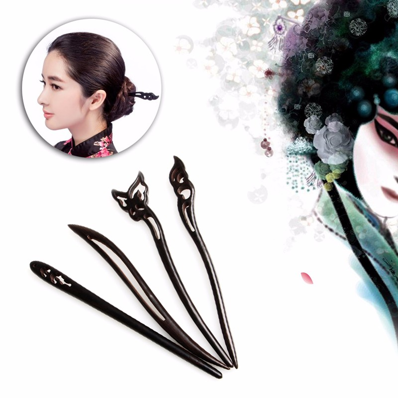 Chinese Classic Ancient Handmade Black Ebony Dish Made Wood Hairpin Hair Sticks fashion 00009 red gold bride wedding hair tiaras ancient chinese empress hair piece