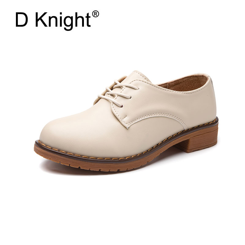 Ladies Casual Flat Oxford Shoes Comfortable Lace Up Round Toe Cow Split Leather Oxfords For Women Female Casual Flats Size 34-41 e lov women casual walking shoes graffiti aries horoscope canvas shoe low top flat oxford shoes for couples lovers