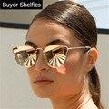 Diseño de marca cat eye sunglasses mujeres diseñador de la marca de lujo del espejo de la vendimia gafas de sol retro para mujeres mujer señora sunglass 2017