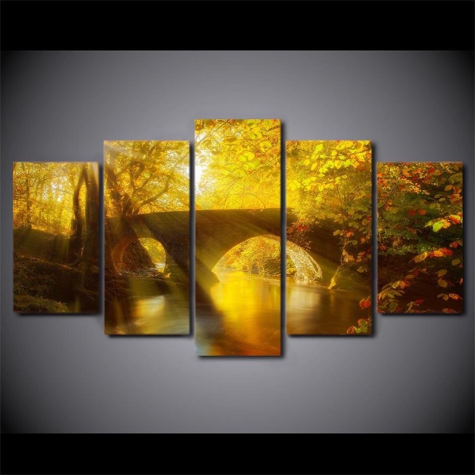 Wall Art Living Room Home Decor Canvas Printed 5 Panel Sun Shining ...