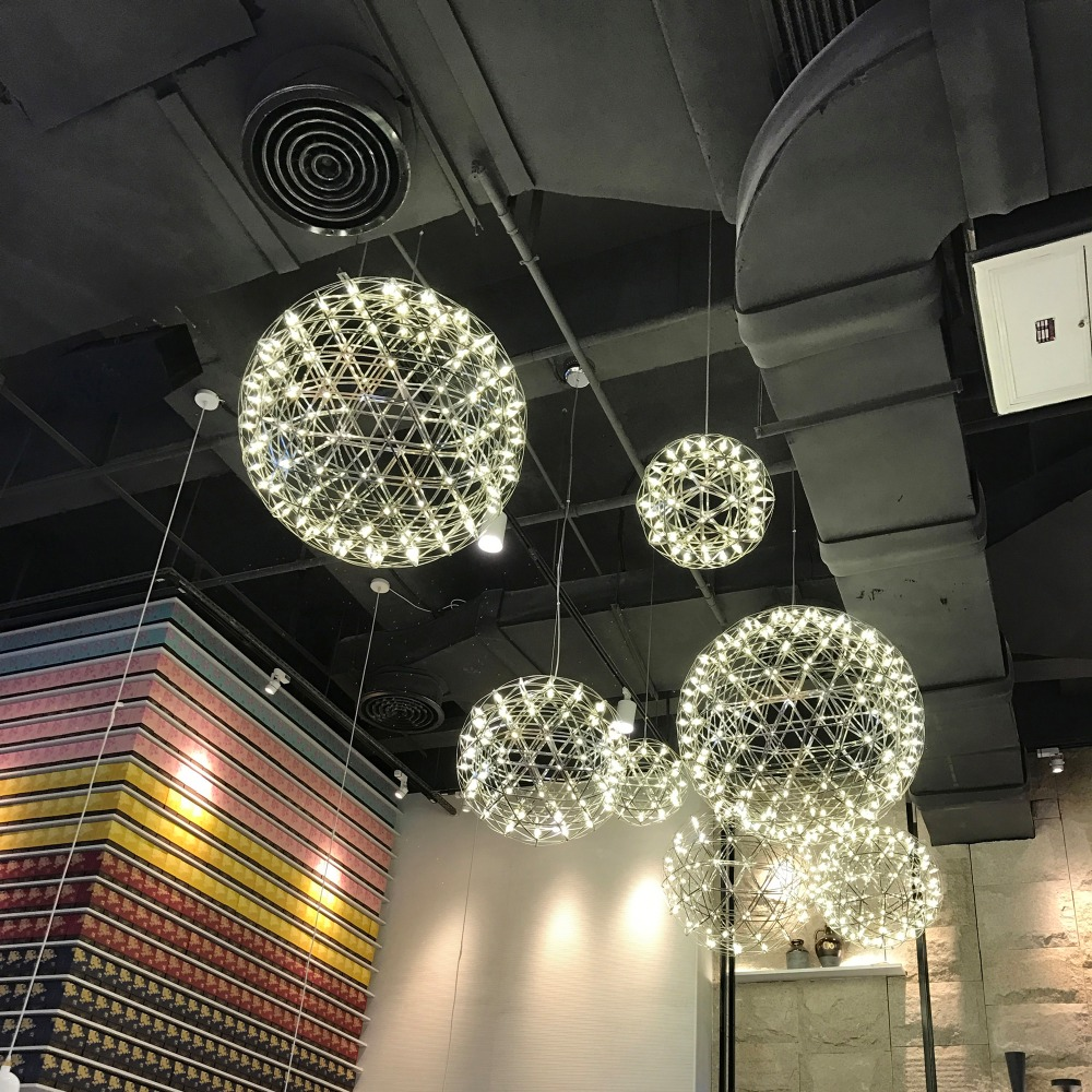 modern living room pendant light stainless steel ball led firework light restaurant villa hotel project lighting private villa living room chair retail