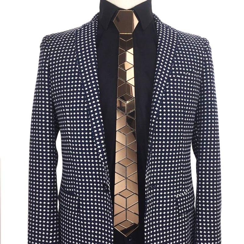 Luxury Acrylic Necktie Slim Fit Walnut Brown Mirror Ties Vintage Style Bling Ties Led Gift Handmade Metallic Summer Accessory