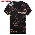 LONMMY M-5XL Verão 2016 t shirt dos homens do Algodão O-pescoço manga Curta T-shirt dos homens Da Marca de roupas de fitness Kirin padrão Tops Tees