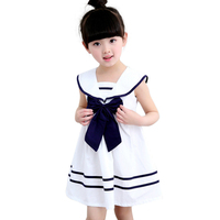 Shirle Baby 2017 New Summer Navy Sailor Uniforms Casual Style Girls Dress White Blue Pink Colors