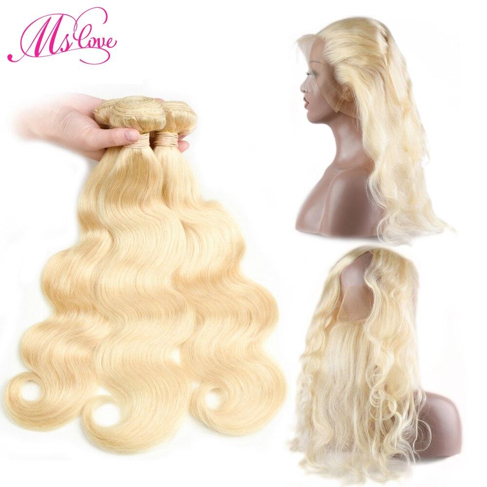 613 Bundles With 360 Frontal Body Wave Blonde Bundles With Lace Frontal Peruvian Hair Bundles With