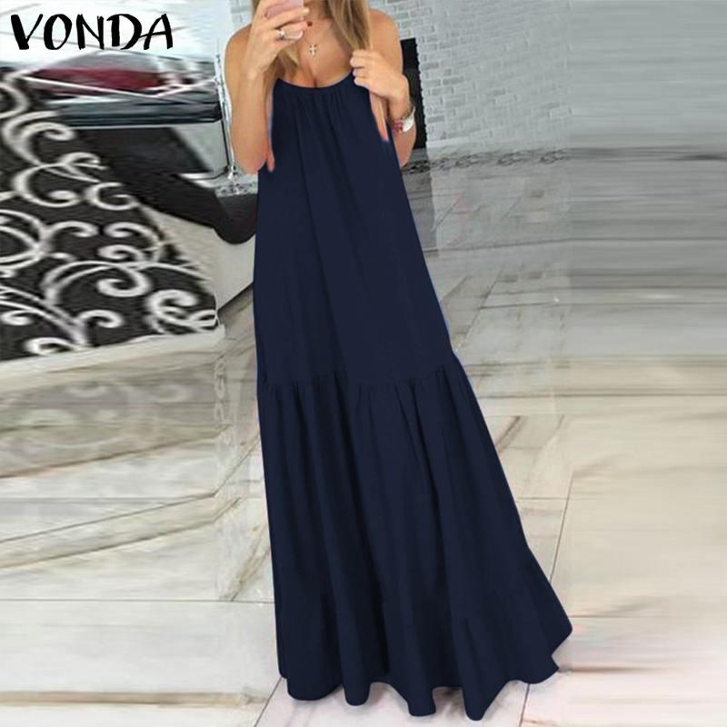 VONDA Bohemian Dress Women 19 Summer Sexy Sleeveless Spaghetti Strap Ruffle Swings Maxi Long Dresses Holiday Vestido Plus Size 9