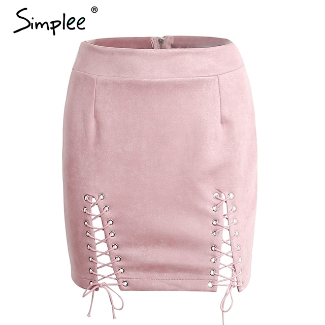 Simplee Leather suede lace up pencil skirt Summer 2017 hollow out zipper split bodycon skirts Women slim black short skirt
