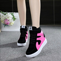Hot sales spring autumn ankle boots heels shoes women casual shoes height increased wedges shoes high top mixed color W40