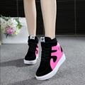 Ventas calientes del resorte del otoño del tobillo botas tacones zapatos de las mujeres zapatos casuales altura aumento de zapatos de las cuñas de alta superior color mezclado W40