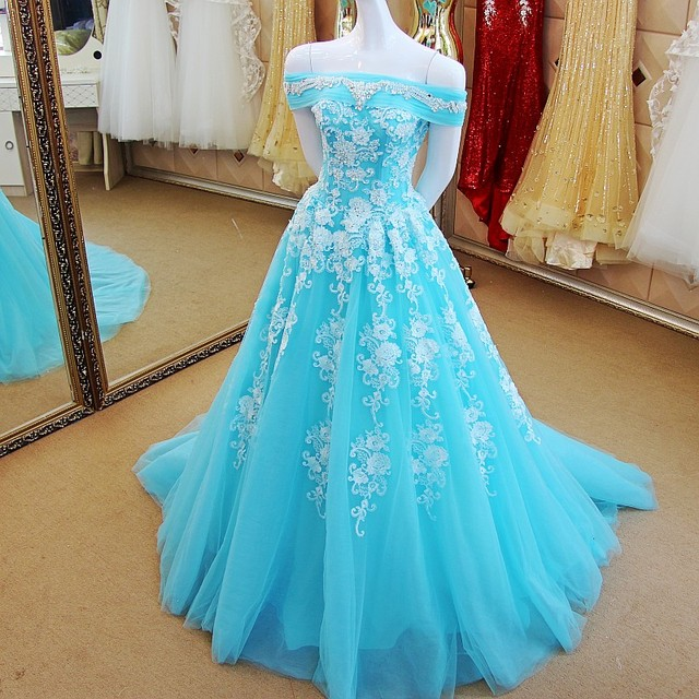 f48700fb6d31 WB282 Light Blue Evening Dresses Long Prom Dress Abendkleid Off Shoulder  Tulle Applique Beaded Lace Yellow Evening Gown