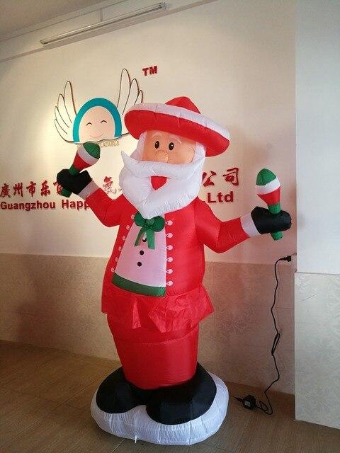 Airblown Надувные Рождество Санта-Клаус Открытый Освещенный Двор Украшения Смешно Размахивая Санта
