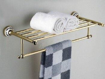 цена на Wall Mounted Polished Gold Color Brass Bathroom Large Towel Rail Towel Bar Holder Shelf Bathroom Accessory mba256