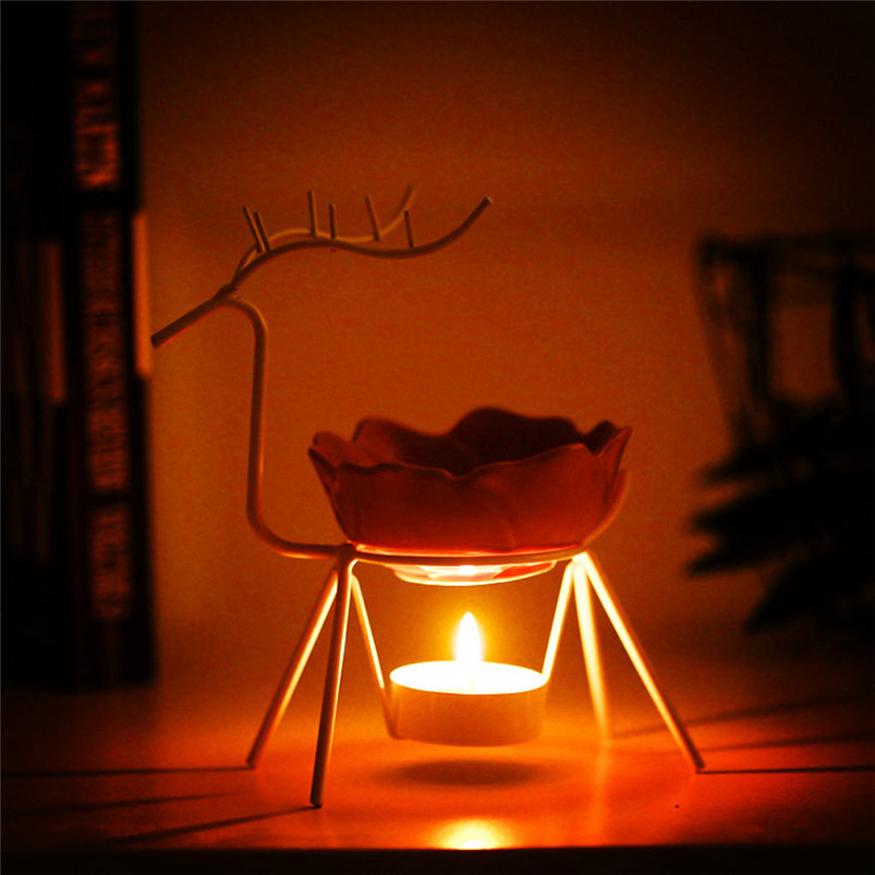 2018 ISHOWTIENDA New Fashion Stainless Steel Oil Burner Candle Aromatherapy Oil Lamp Home Decorations Aroma Furnace Hot Sale