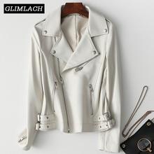 Frauen Weiß Echt Leder Jacke Langarm Schlank Zipper Echtes Leder Mantel Damen Streetwear Schaffell Casual Harajuku Kleidung