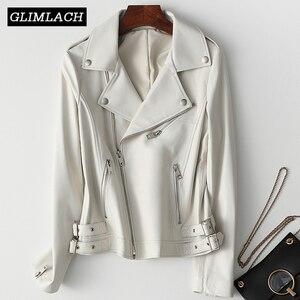 Image 1 - Kobiety biały prawdziwa skórzana kurtka z długim rękawem Slim zamek prawdziwej skóry płaszcz skórzany panie Streetwear kożuch dorywczo Harajuku ubrania