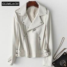 ผู้หญิงสีขาวเสื้อแจ็คเก็ตหนังแท้แขนยาวซิปหนังแท้สุภาพสตรี Streetwear Sheepskin Casual Harajuku เสื้อผ้า