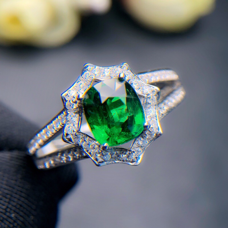 Fine Jewelry Real 18K White Gold 100% Natural Unheat 1.0ct Tsavorite Gemstones 18k Tsavorites Diamonds Female Wedding Rings