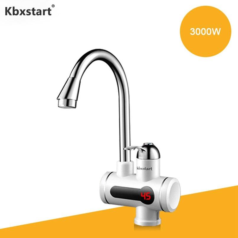Kbxstart cuisine chauffe-eau électrique robinet Electrica chauffe-eau sans réservoir Calentador Led affichage instantané robinet à bavette d'eau