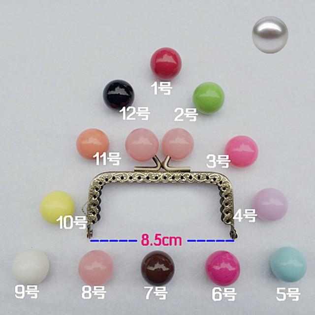 8.5 cm renkli şeker topu öpücük toka mini düz tırtıllı çanta çerçeve sikke çanta yapımı metal toka donanım 10 adet/grup