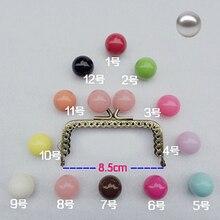 8.5cm boule de bonbons colorée baiser boucle mini droit moletage sac à main cadre pièce de monnaie sac faisant métal fermoir matériel 10 pièces/lot