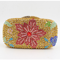 Women Floral Black Pink Yellow Grey Silver Blue Green Red Evening Bags Colorful Minaudiere Party Crystal