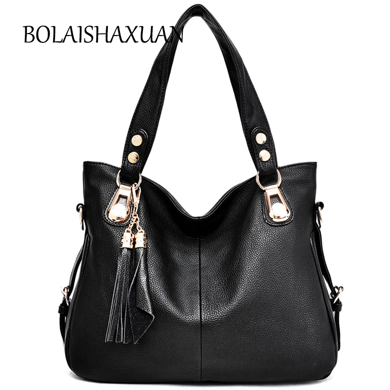 New Fashion Tassel Women Leather Tote Bags Luxury Handbags Women Bags Designer Crossbody Bag Sac a Main Black Large Handbag 2017 weiju new canvas women handbag large capacity casual tote bag women men shoulder bag messenger crossbody bags sac a main