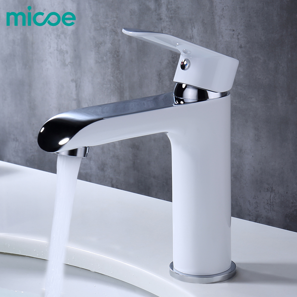 Grifo de baño MICOE grifo de lavabo fregadero de cascada grifo de lavabo grifo de latón cromo recipiente grifo de agua caliente y fría blanco