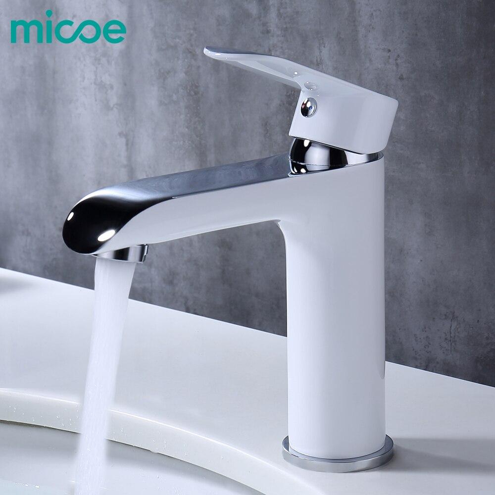 MICOE bagno rubinetto miscelatore del bacino rubinetti lavandino cascata di lavaggio del bacino rubinetto in ottone cromato vessel lavabo acqua calda e fredda rubinetti bianco