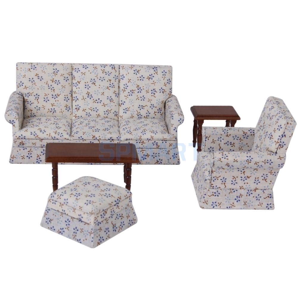 Dollhouse Miniature Furniture Sofa End Table Set 1:12 ...