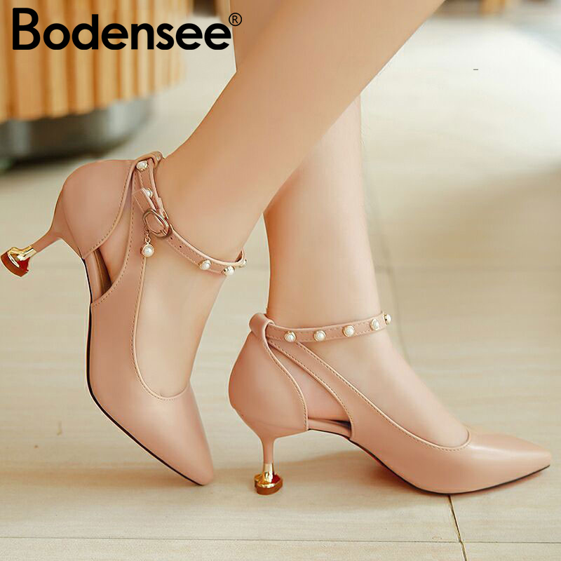 Bodensee Pumps 3-5CM Mid Heel Classic Sexy Pointed Toe Kitten Heels Shoes Spring Loafers Sandals Shoes Wedding Pumps