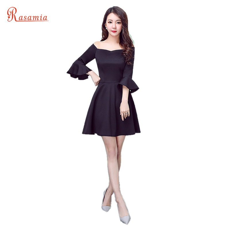 925be6cf3a28 Black Women Dress Big Size Off Shoulder Ruffle Sleeve Arabic Style Prom  Party Gown Dresses Mini Robe Cocktail Vestido FemmeGQ825