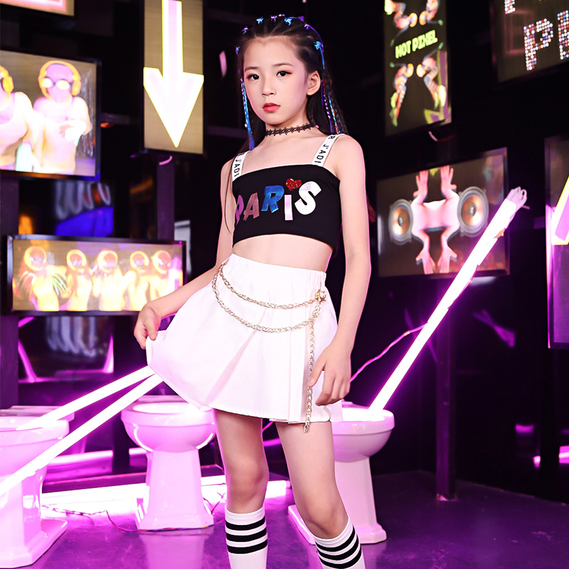 New Kids Jazz Dance Skirt Girls Hip Hop Practice Clothes Children Street Dance Performance Costume Catwalk Show Outfit DQL1625
