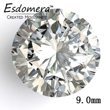 Color F Esdomera Moissanites 3 Carat 9.0mm Round Cut Loose Gemstone Test as Real Lab Grown Moissanites Diamond Jewelry
