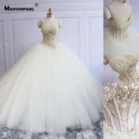 Golden Pearls Beading Robe Mariee Dentelle Strapless Chapel Train Luxury Dress 2019 Real Pictures Brautkleid Boho Wedding Dress