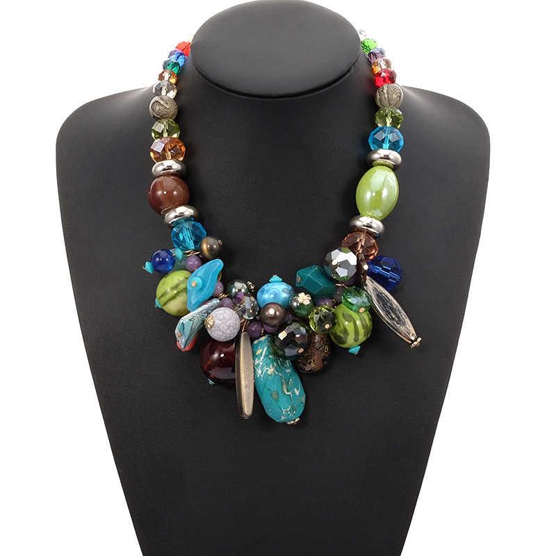 Oświadczenie BeUrSelf czeski naszyjnik dla kobiet etniczny naszyjnik szkło kryształowe zroszony kamień naturalny biżuteria Dropshipping