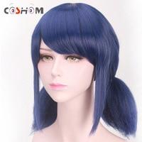 Coshome mariquita milagrosa Pelucas peluca Marinette Niñas mujeres Cosplay doble coleta trenzas peluca corta recta pelo azul