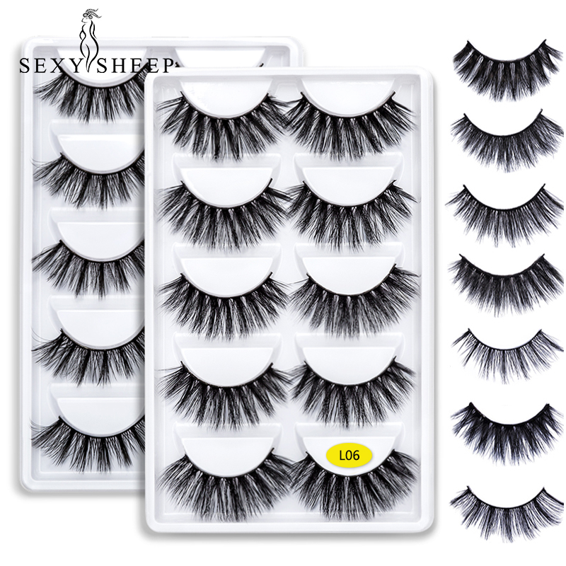 SEXYSHEEP 5 Pairs 3D Mink Eyelashes Natural False Eyelashes 13style Lashes Soft Fake Eyelashes Extension Makeup Kit Cilios