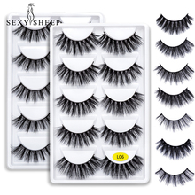 SEXYSHEEP 5 pairs 3D Mink Eyelashes Natural False Eyelashes 13style Lashes Soft Fake Eyelashes Extension Makeup Kit Cilios