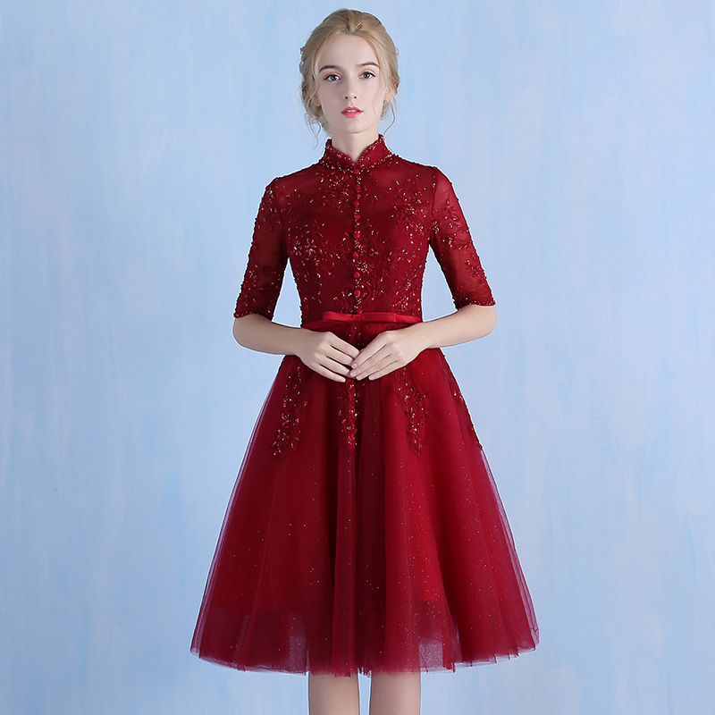 Elegant Burgundy High Neck Beading Lace Vestidos De Festa See Through Appliques Knee Length   Bridesmaid     Dresses   Prom Party Gowns
