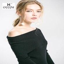 Фотография OMONSIM European Style Solid Simple Fashion Sweater Light Luxury Thin Knit Slim Sweater Sexy Strapless Long Knitwear CC-069